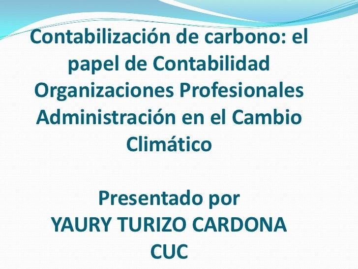 Contabilización de carbono: el   papel de ContabilidadOrganizaciones Profesionales Administración en el Cambio          Cl...