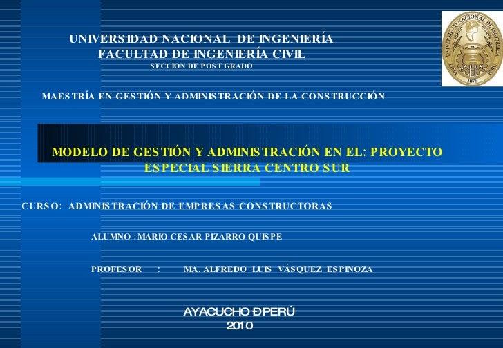 Modelo de Gestión y Administración de Empresa Pública