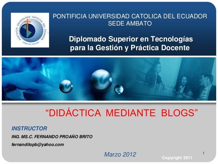 PONTIFICIA UNIVERSIDAD CATOLICA DEL ECUADOR                                 SEDE AMBATO                         Diplomado ...