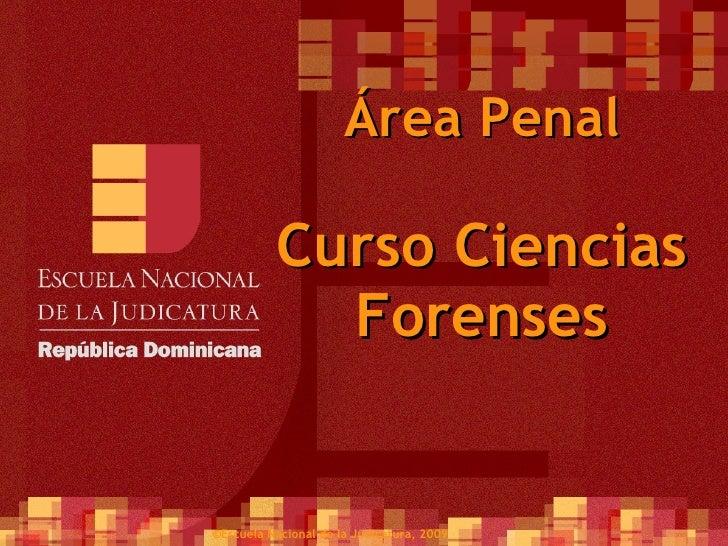 Área Penal Curso Ciencias Forenses ©Escuela Nacional de la Judicatura, 2009