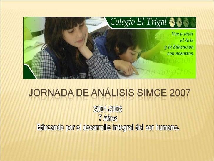 2001-2008 7 Años  Educando por el desarrollo integral del ser humano.