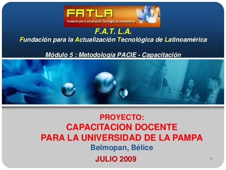 PROYECTO DE CAPACITACION DOCENTE PACIE-FATLA