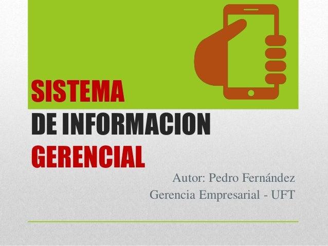 SISTEMA DE INFORMACION GERENCIAL Autor: Pedro Fernández Gerencia Empresarial - UFT