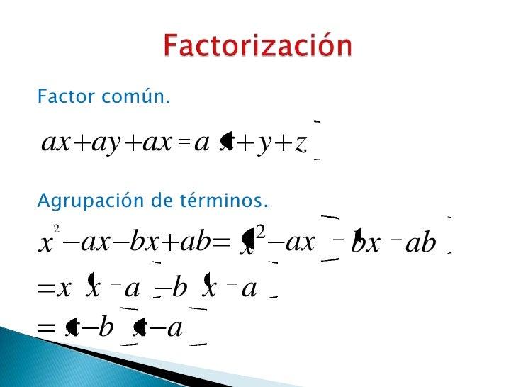 Factor común.ax ay ax a x y zAgrupación de términos. 2                   2x ax bx ab x ax           bx ab x x a b x a  x b...