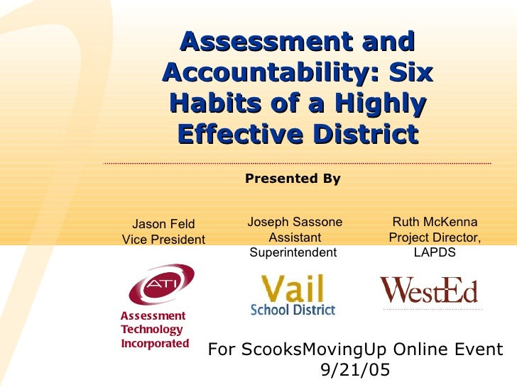 Assessment and       Accountability: Six       Habits of a Highly        Effective District                    Presented B...