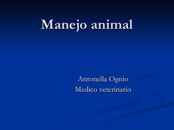 Manejo animal Antonella Ognio Medico veterinario
