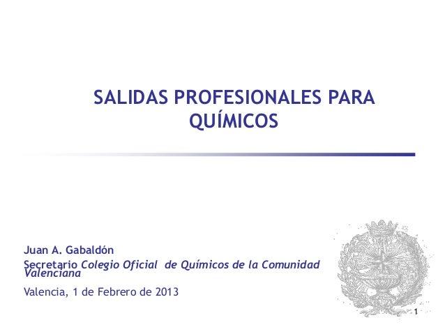 SALIDAS PROFESIONALES PARA                      QUÍMICOSJuan A. GabaldónSecretario Colegio Oficial de Químicos de la Comun...