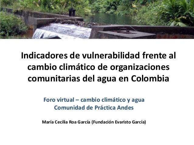 Indicadores de vulnerabilidad frente al cambio climático de organizaciones comunitarias del agua en Colombia Foro virtual ...