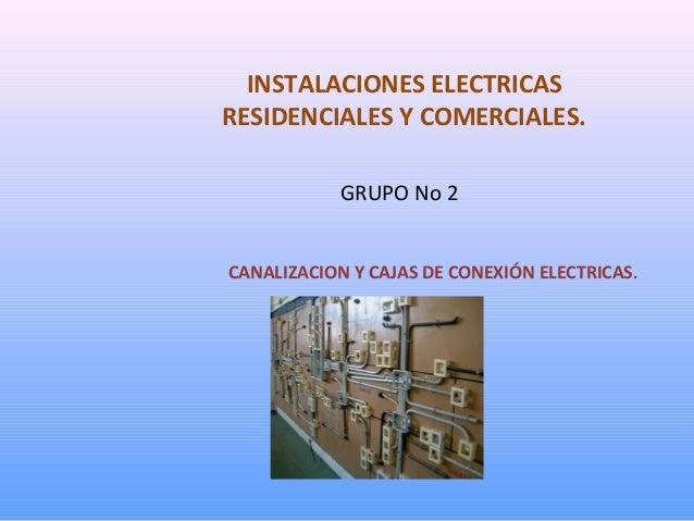 INSTALACIONES ELECTRICAS RESIDENCIALES Y COMERCIALES. GRUPO No 2 CANALIZACION Y CAJAS DE CONEXIÓN ELECTRICAS.