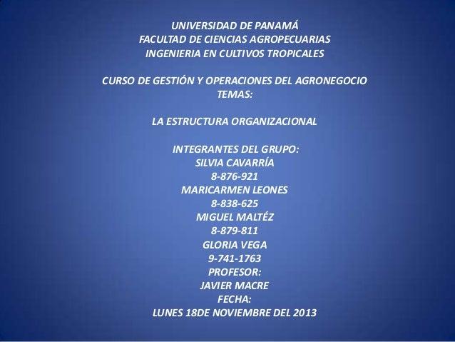 UNIVERSIDAD DE PANAMÁ FACULTAD DE CIENCIAS AGROPECUARIAS INGENIERIA EN CULTIVOS TROPICALES CURSO DE GESTIÓN Y OPERACIONES ...