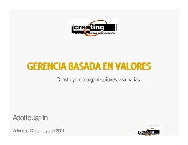Construyendo organizaciones visionarias . . .Adolfo JarrínValencia, 22 de mayo de 2004