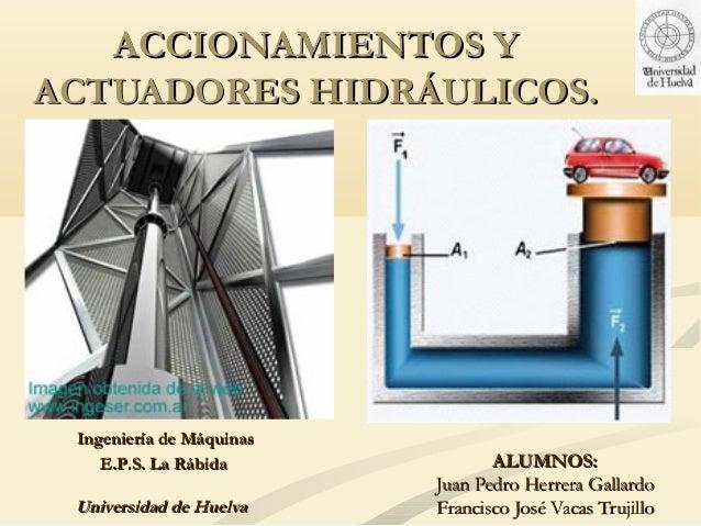 ACCIONAMIENTOS YACTUADORES HIDRÁULICOS. Ingeniería de Máquinas    E.P.S. La Rábida             ALUMNOS:                   ...
