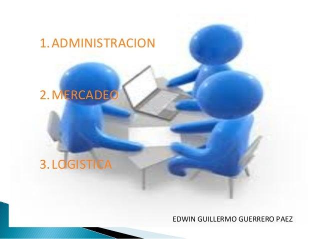 1.ADMINISTRACION 2.MERCADEO  3.LOGISTICA  EDWIN GUILLERMO GUERRERO PAEZ