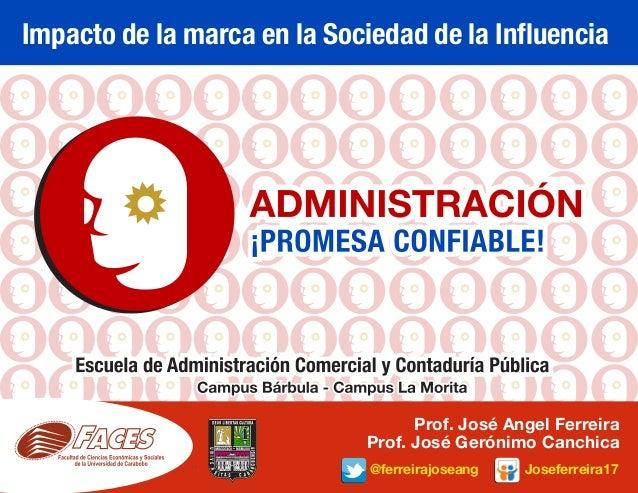 Impacto de la marca en la Sociedad de la Influencia @ferreirajoseang Joseferreira17 Prof. José Angel Ferreira Prof. José G...