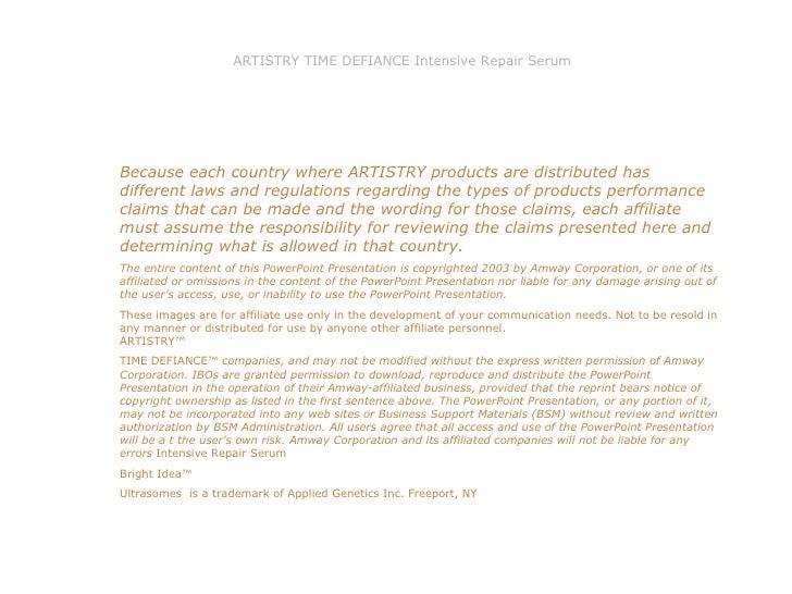 Presentacion Artistry Time Defiance