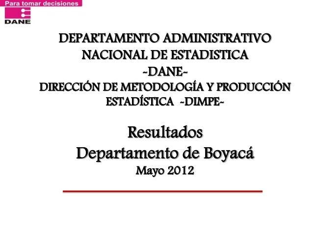 DEPARTAMENTO ADMINISTRATIVO NACIONAL DE ESTADISTICA -DANE- DIRECCIÓN DE METODOLOGÍA Y PRODUCCIÓN ESTADÍSTICA -DIMPE- Resul...