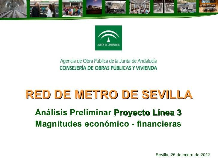 RED DE METRO DE SEVILLA Análisis Preliminar  Proyecto Línea 3 Magnitudes económico - financieras Sevilla, 25 de enero de 2...