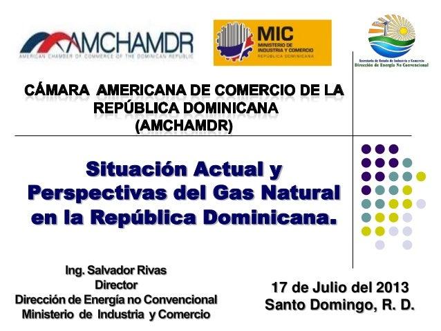 Situación Actual y Perspectivas del Gas Natural en la República Dominicana. 17 de Julio del 2013 Santo Domingo, R. D.