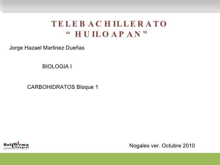 "TELEBACHILLERATO ""HUILOAPAN"" Jorge Hazael Martinez Dueñas  BIOLOGIA I CARBOHIDRATOS Bloque 1 Nogales ver. Octubre 2010"