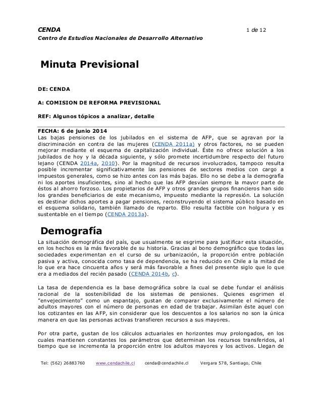 Minuta Previsional de CENDA a COMISION DE REFORMA PREVISIONAL