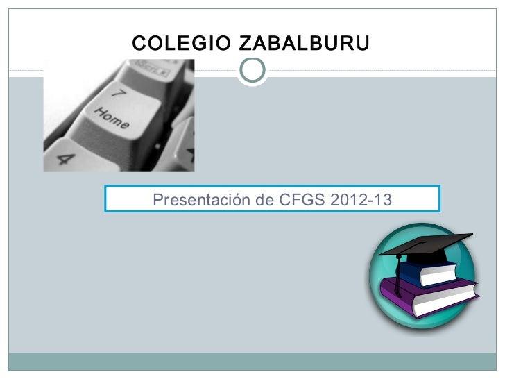 <ul><li>COLEGIO ZABALBURU   </li></ul>Presentación de CFGS 2012-13