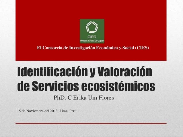 Identificación y Valoración de Servicios ecosistémicos - CIES
