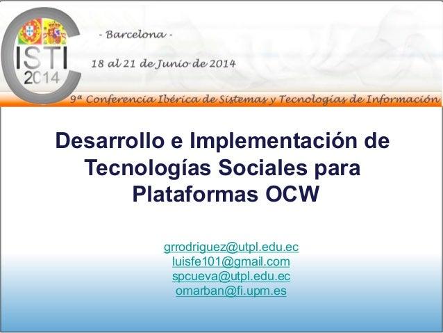 Tecnologías sociales para OCW