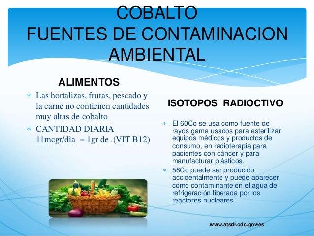 Intoxicacion por cobalto - Fuentes de contaminacion de los alimentos ...