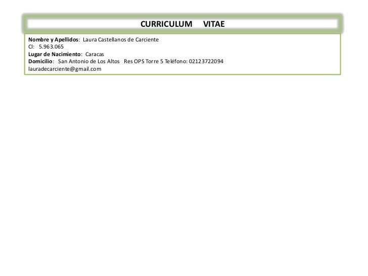 CURRICULUM     VITAE<br />Nombre y Apellidos:  Laura Castellanos de Carciente<br />CI:   5.963.065<br />Lugar de Nacimient...