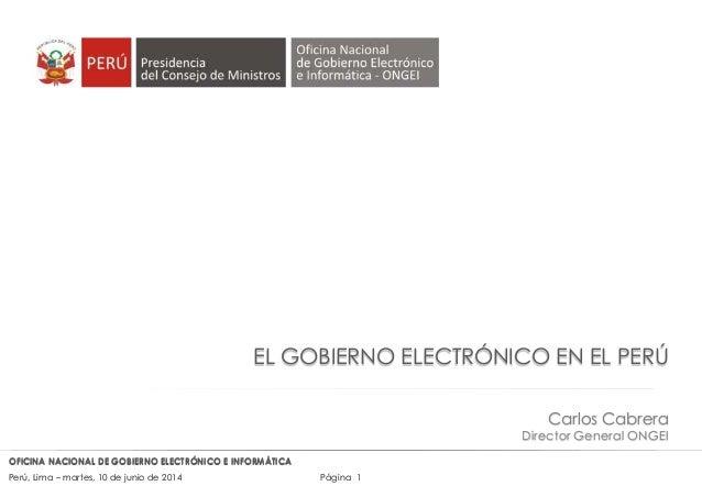 El Gobierno Electrónico en el Perú