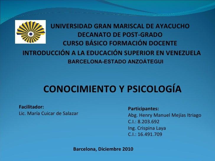Presentacion Conocimiento y Psicologia