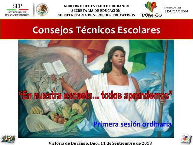GOBIERNO DEL ESTADO DE DURANGO SECRETARÍA DE EDUCACIÓN SUBSECRETARÍA DE SERVICIOS EDUCATIVOS Victoria de Durango, Dgo., 11...