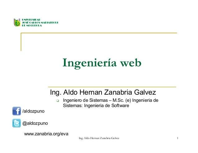 Ingeniería web Ing. Aldo Hernan Zanabria Galvez  Ingeniero de Sistemas – M.Sc. (e) Ingenieria de Sistemas: Ingenieria de ...
