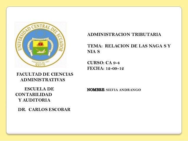 ADMINISTRACION TRIBUTARIA                       TEMA: RELACION DE LAS NAGA S Y                       NIA S                ...