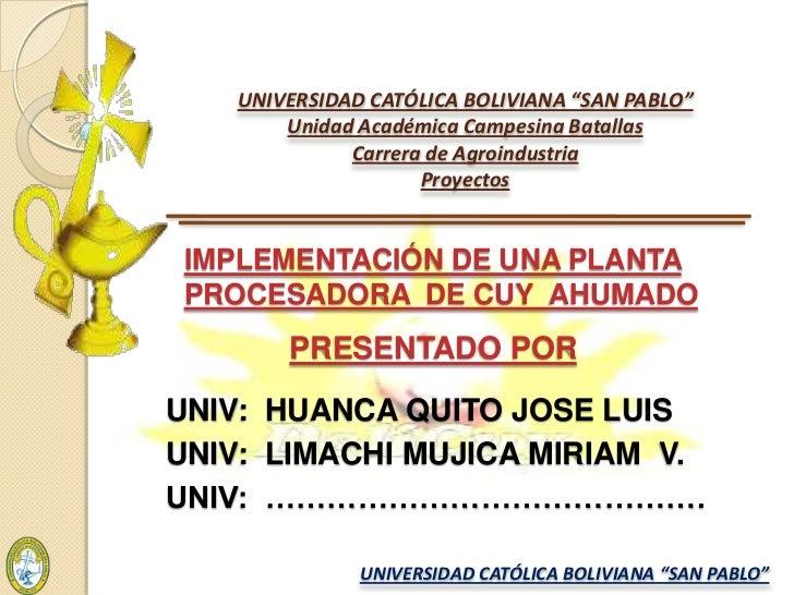 "UNIVERSIDAD CATÓLICA BOLIVIANA ""SAN PABLO""Unidad Académica Campesina BatallasCarrera de AgroindustriaProyectos<br />IMPLEM..."