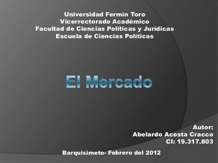 Universidad Fermín Toro       Vicerrectorado AcadémicoFacultad de Ciencias Políticas y Jurídicas      Escuela de Ciencias ...