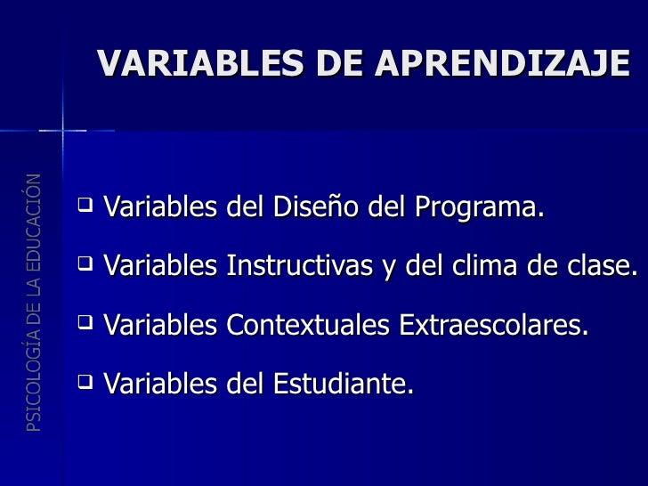 VARIABLES DE APRENDIZAJE <ul><li>Variables del Diseño del Programa. </li></ul><ul><li>Variables Instructivas y del clima d...