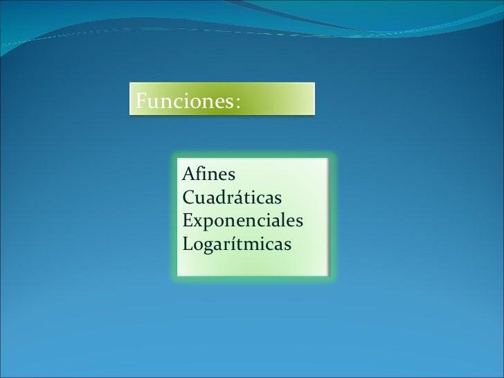 Funciones: Afines Cuadráticas Exponenciales Logarítmicas