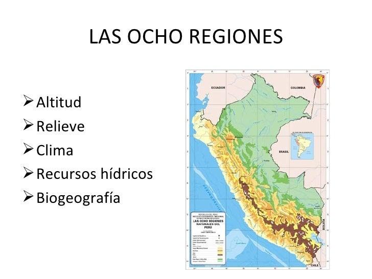 LAS OCHO REGIONES <ul><li>Altitud </li></ul><ul><li>Relieve </li></ul><ul><li>Clima </li></ul><ul><li>Recursos hídricos </...