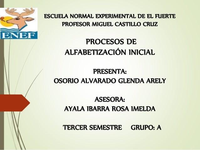 ESCUELA NORMAL EXPERIMENTAL DE EL FUERTE PROFESOR MIGUEL CASTILLO CRUZ PROCESOS DE ALFABETIZACIÓN INICIAL PRESENTA: OSORIO...