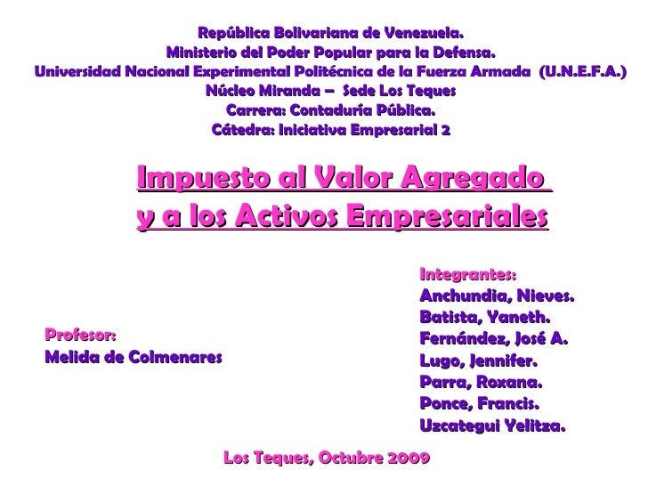 República Bolivariana de Venezuela. Ministerio del Poder Popular para la Defensa. Universidad Nacional Experimental Polité...