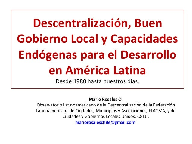 Mario Rosales Descentralización y capacidades locales