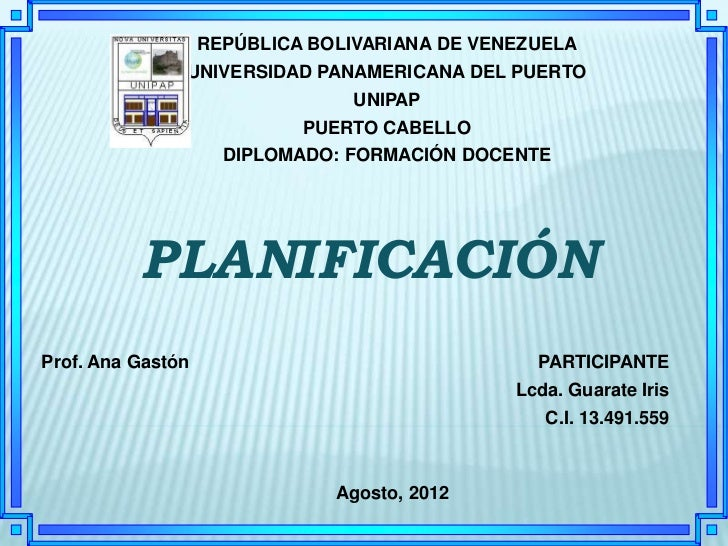 REPÚBLICA BOLIVARIANA DE VENEZUELA               UNIVERSIDAD PANAMERICANA DEL PUERTO                                UNIPAP...