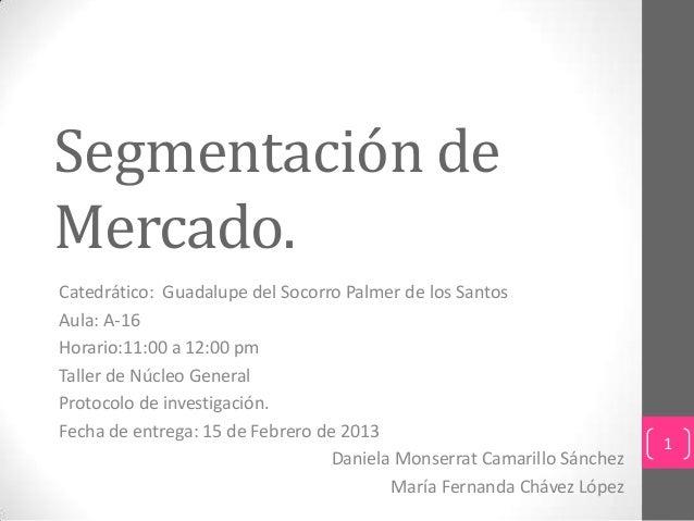 Segmentación deMercado.Catedrático: Guadalupe del Socorro Palmer de los SantosAula: A-16Horario:11:00 a 12:00 pmTaller de ...