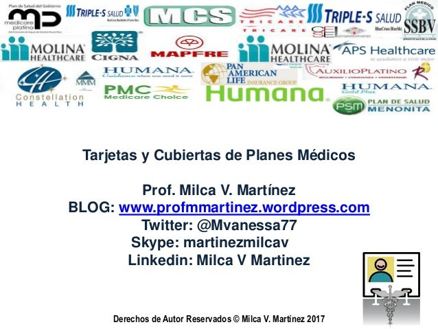 Derechos de Autor Reservados © Milca V. Martínez 2015 Tarjetas y Cubiertas de Planes Médicos Prof. Milca V. Martínez BLOG:...
