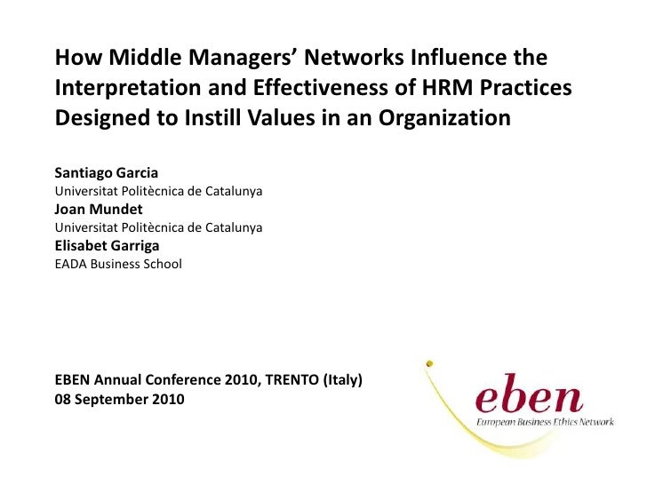 HowMiddle Managers' Networks Influencethe<br />Interpretation and Effectiveness of HRM Practices<br />DesignedtoInstillVal...