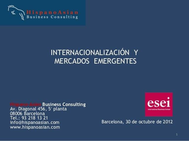 INTERNACIONALIZACIÓN Y                  MERCADOS EMERGENTESHispano-Asian Business ConsultingAv. Diagonal 456, 5ª planta080...