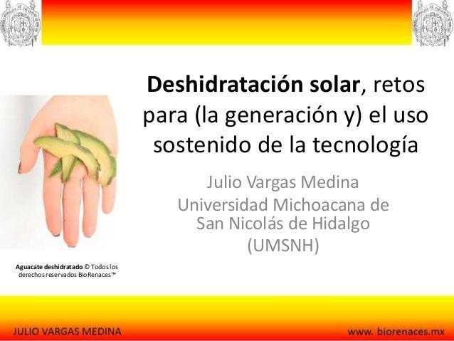 Deshidratación solar, retos para (la generación y) el uso sostenido de la tecnología Julio Vargas Medina Universidad Micho...