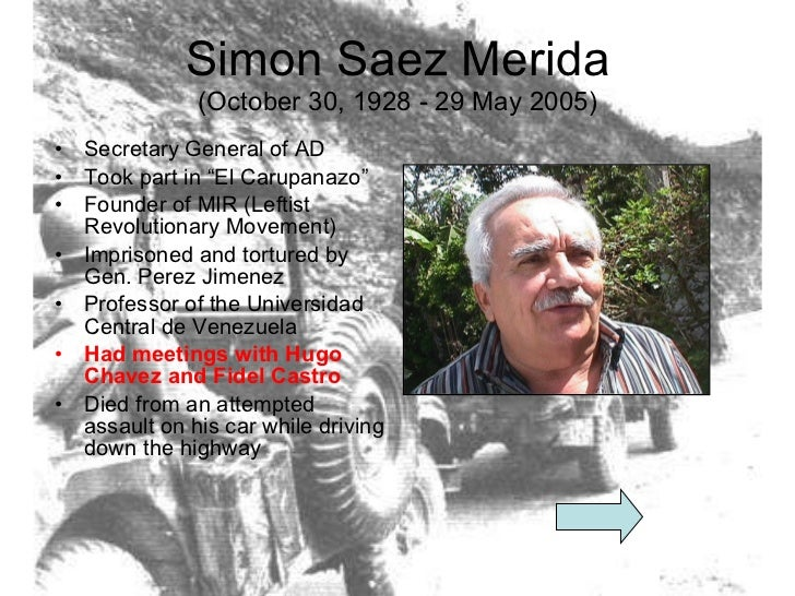 "Simon Saez Merida (October 30, 1928 - 29 May 2005) <ul><li>Secretary General of AD </li></ul><ul><li>Took part in ""El Caru..."
