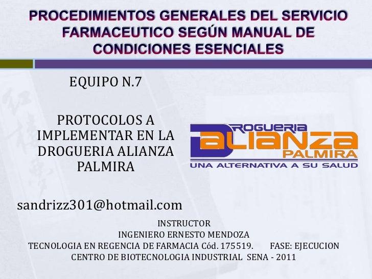 PROCESOS Y PROCEDIMIENTOS DEL SERVICIO FARMACEUTICO